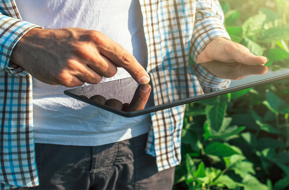 photo of man in field holding an ipad