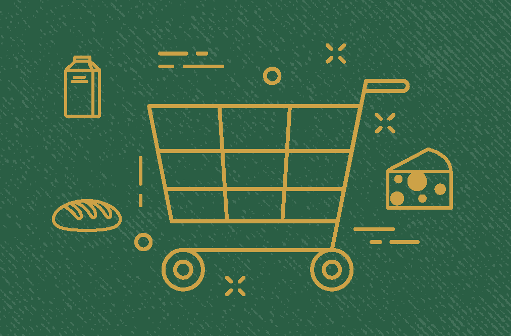 Green Background With Shopping Cart