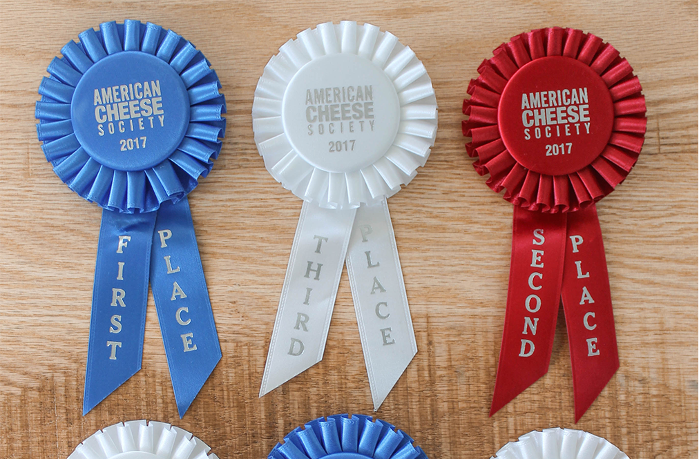 First, Second and Third Place Ribbons From American Cheese Society