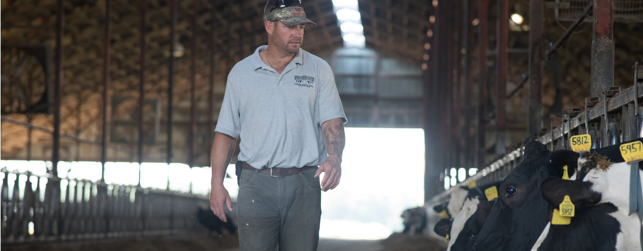 Burli Hopkins Walking Through His Dairy Cow Facility