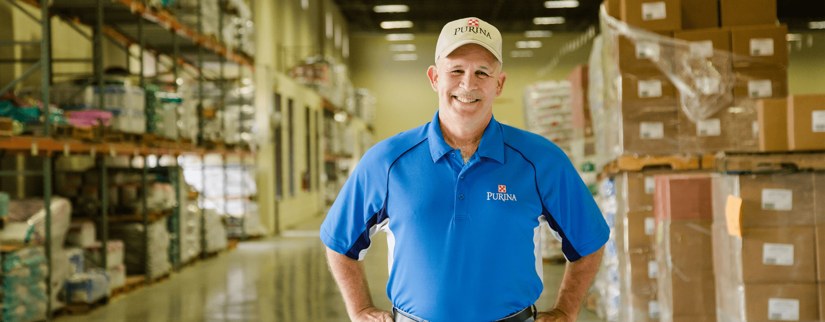 Marine Corps Veteran Nick Boyles In A Purina Animal Nutrition Warehouse