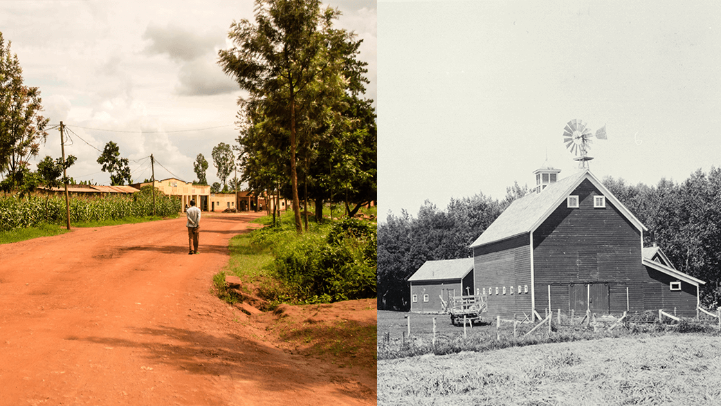 An Old Photo And A Recent Photo Of Farms In Rwanda And 1920s United States